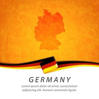 Flaga niemiec z centralną mapą