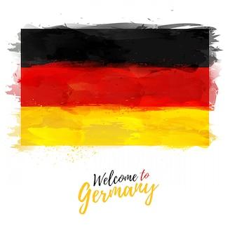 Flaga niemiec z dekoracją w kolorze narodowym. styl rysunek akwarela. ilustracja.