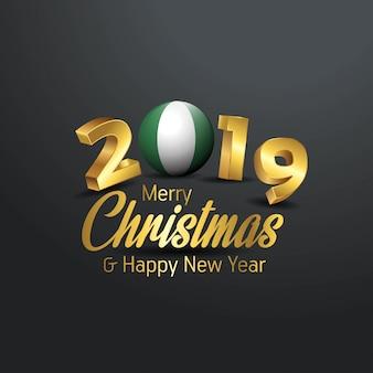 Flaga nigerii 2019 wesołych świąt typografia
