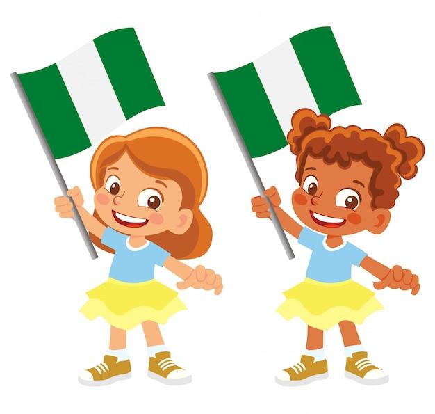 Flaga nigerii w zestawie ręki