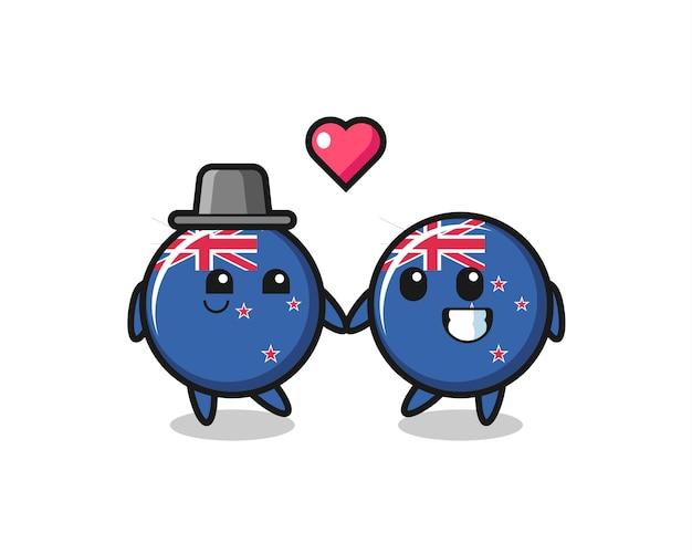 Flaga nowej zelandii odznaka kreskówka para z gestem zakochania, ładny styl na koszulkę, naklejkę, element logo