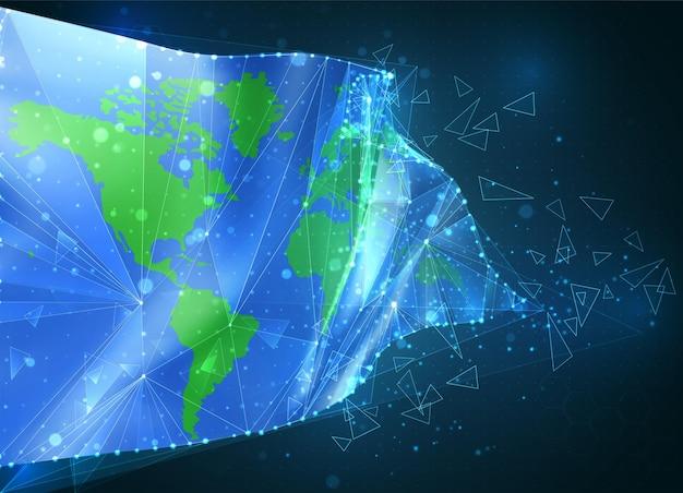 Flaga ochrony ziemi, wirtualny abstrakcyjny obiekt 3d z trójkątnych wielokątów na niebieskim tle