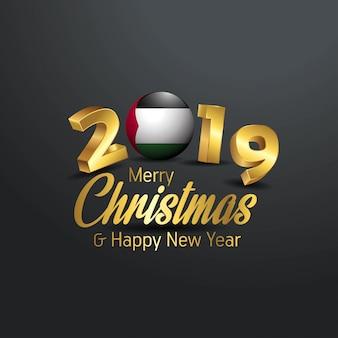 Flaga palestyny 2019 wesołych świąt typografia