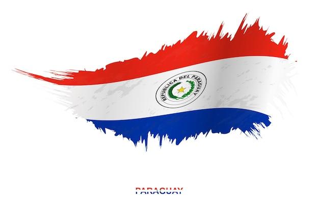 Flaga paragwaju w stylu grunge z efektem macha, wektor flaga obrysu pędzla nieczysty.