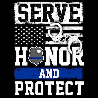 Flaga policji, mankiety, typografia służyć honor protect