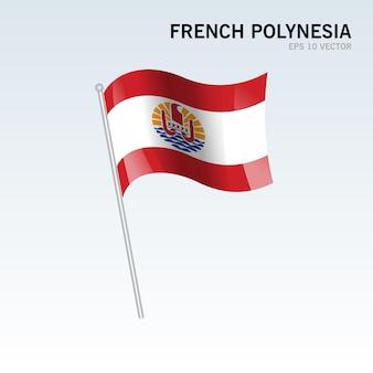 Flaga polinezji francuskiej na szarym tle