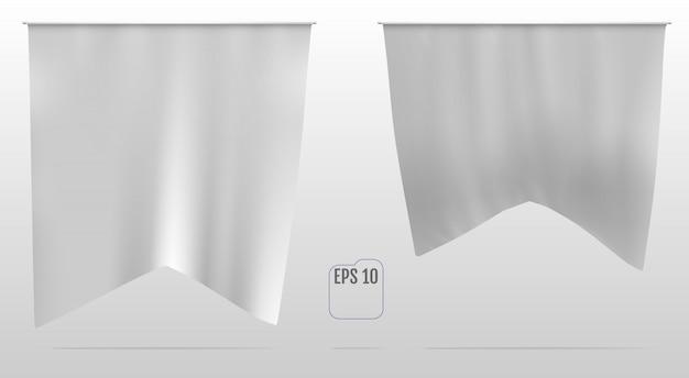 Flaga, proporczyk lub baner biała realistyczna makieta.