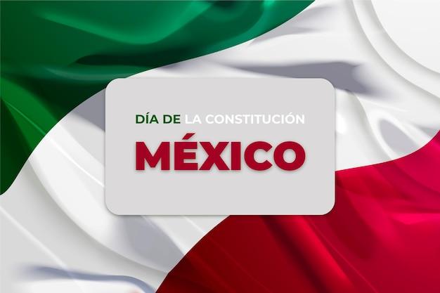 Flaga realistyczna dnia konstytucji meksyku
