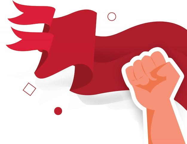 Flaga ręka pięści człowieka demokracji wybory wolności patriota dzień