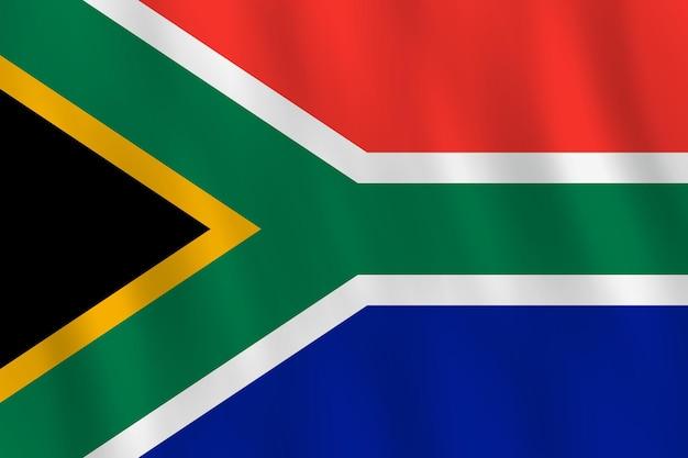 Flaga republiki południowej afryki z efektem falowania, oficjalne proporcje.