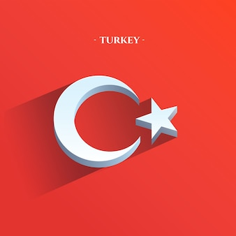 Flaga republiki turcji 3d płaski
