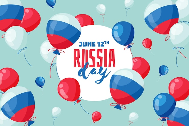 Flaga rosji na tle balonów