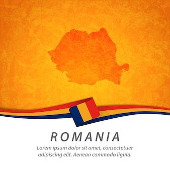 Flaga rumunii z centralną mapą