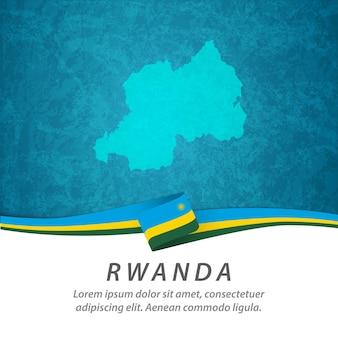 Flaga rwandy z centralną mapą