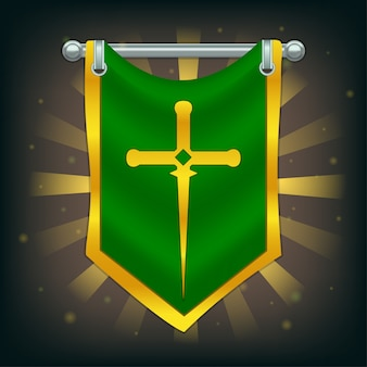 Flaga rycerza z mieczem na srebrnym słupie