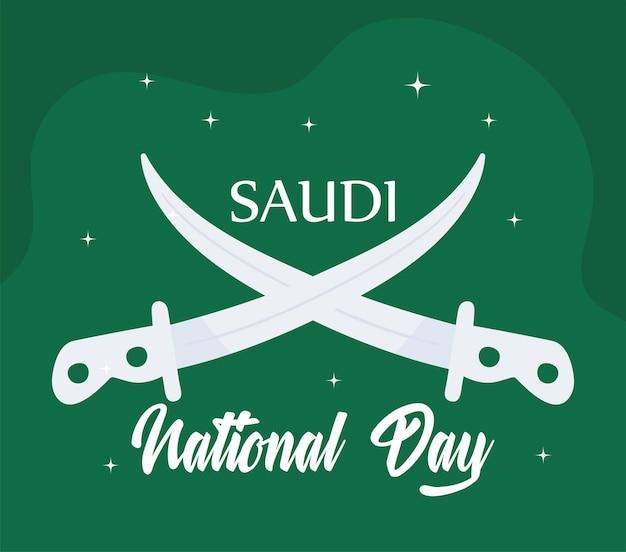 Flaga saudyjskiego święta narodowego z mieczami