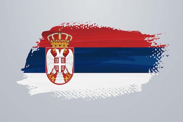 Flaga serbii pędzla farby