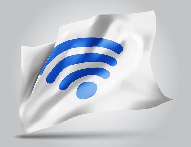 Flaga siatki wektor 3d fali wi-fi na białym tle z falami na wietrze.
