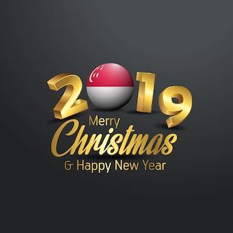 Flaga singapuru 2019 wesołych świąt typografia