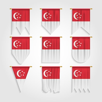 Flaga singapuru w różnych kształtach, flaga singapuru w różnych kształtach