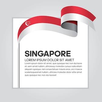 Flaga singapuru wstążka, ilustracji wektorowych na białym tle