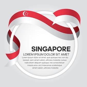 Flaga singapuru wstążka wektor ilustracja na białym tle