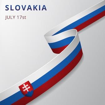 Flaga słowacji. 17 lipca. ilustracja wektorowa. falista wstążka na szarym tle. dzień niepodległości. symbol narodowy. szablon projektu graficznego. krzyż patriarchalny.