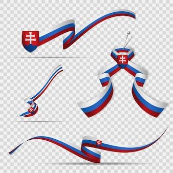 Flaga słowacji. 17 lipca. zestaw realistycznych falistych wstążek w kolorach flagi słowacji na przezroczystym tle. herb. dzień niepodległości. krzyż patriarchalny. ilustracja wektorowa.