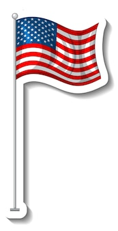 Flaga stanów zjednoczonych ameryki z izolowanym słupem