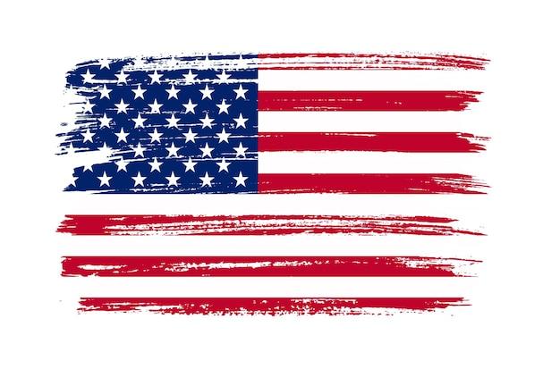 Flaga stanów zjednoczonych obrysu pędzla