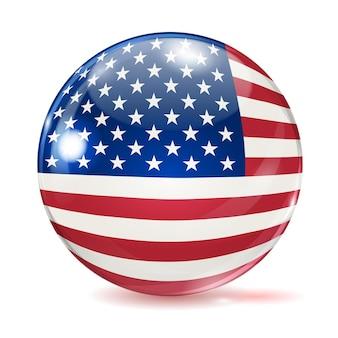 Flaga stanów zjednoczonych w formie kuli z odblaskami i cieniami na białym tle