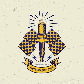 Flaga świecy zapłonowej odznaka logo rocznika motocykla
