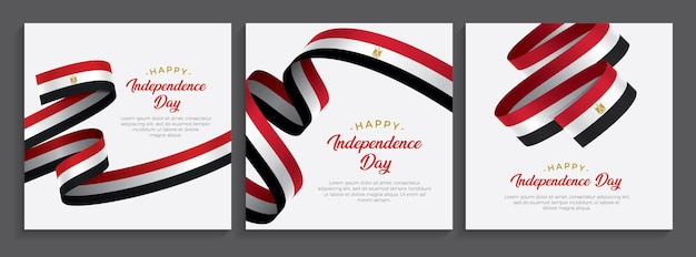 Flaga szczęśliwego dnia niepodległości egiptu, ilustracja