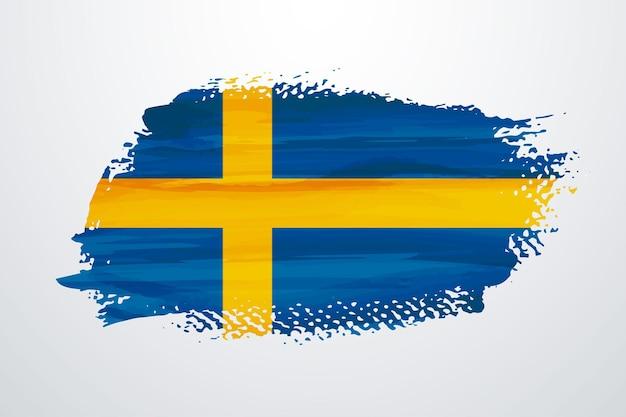 Flaga szwecji pędzlem farby