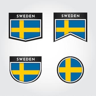 Flaga szwecji z etykietami