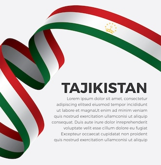 Flaga tadżykistanu wstążka ilustracja wektorowa na białym tle premium wektorów