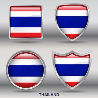 Flaga tajlandii bevel 4 kształty ikona