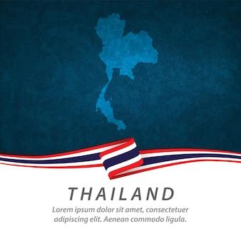 Flaga tajlandii z centralną mapą