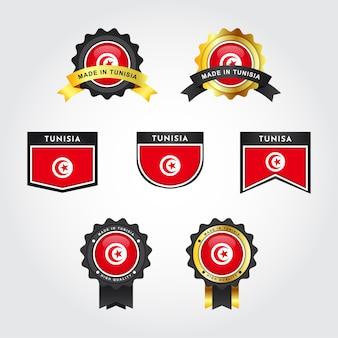 Flaga tunezji i odznaka z emblematem made in tunisia
