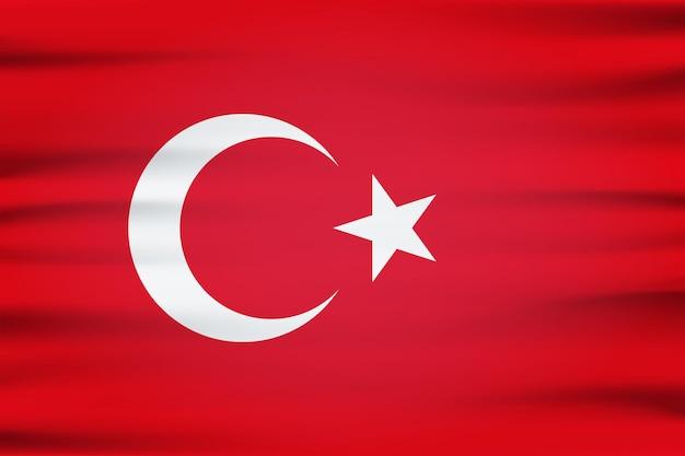 Flaga turcji 3d białego półksiężyca i gwiazdy na tle koloru czerwonego. republika turecka oficjalna flaga narodowa kraju europejskiego macha z zakrzywioną tkaniną lub falami wektor tekstury