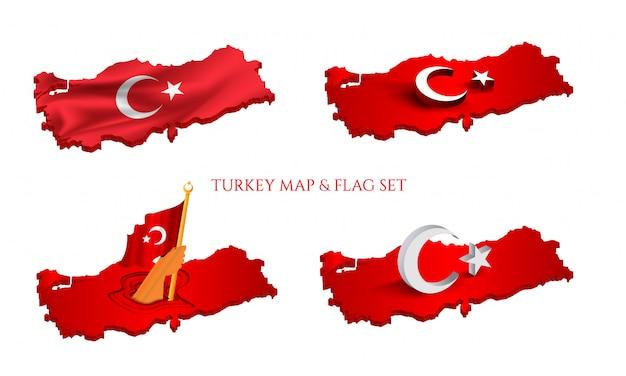 Flaga turcji na mapie. 4 różna wersja na białym tle.