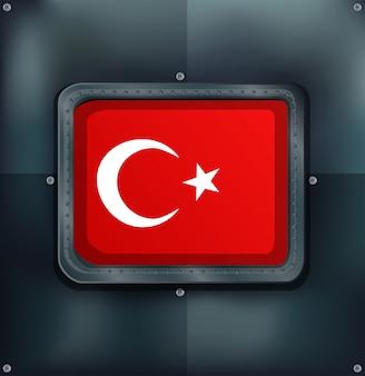 Flaga turcji na metalicznym