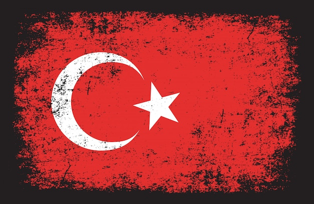 Flaga turcji w stylu grunge