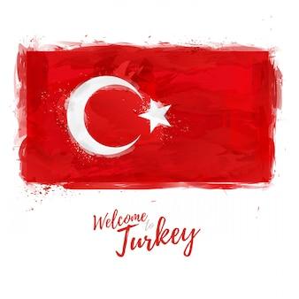 Flaga turcji z dekoracją w kolorze narodowym. styl rysunek akwarela. flaga turecka z symbolem narodowym. .