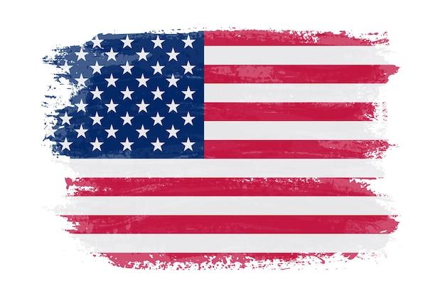 Flaga usa grunge obrysu pędzla