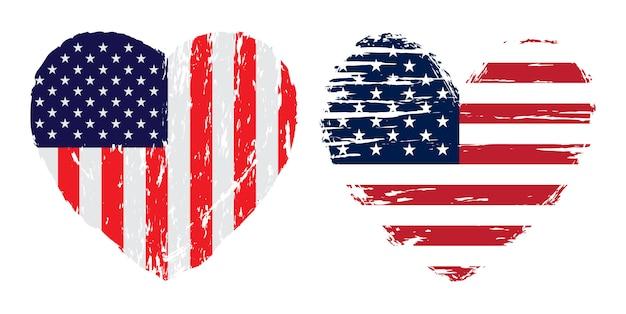 Flaga usa serce w stylu grunge