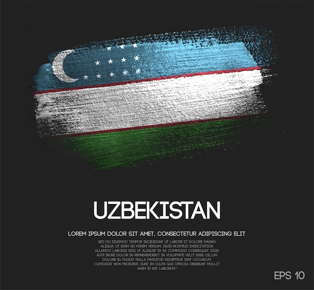 Flaga uzbekistanu wykonane z farby pędzla blitter brush