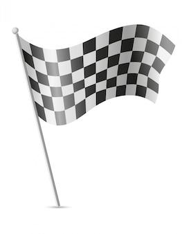 Flaga w kratkę dla ilustracji wektorowych wyścigów samochodowych