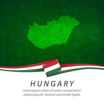 Flaga węgier z centralną mapą