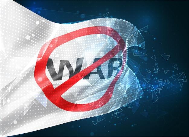 Flaga wektora zatrzymania wojny, wirtualny abstrakcyjny obiekt 3d z trójkątnych wielokątów na niebieskim tle